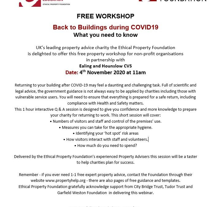Free workshop: Back to Buildings during COVID 19