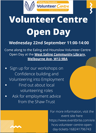 Volunteer Centre Open Day-Wednesday 22nd September 11:00-14:00 @ West Ealing Community Library, Melbourne Ave, W13 9BA